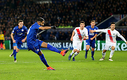 Riyad Mahrez of Leicester City scores his sides second goal from the penalty spot  - Mandatory by-line: Matt McNulty/JMP - 22/11/2016 - FOOTBALL - King Power Stadium - Leicester, England - Leicester City v Club Brugge - UEFA Champions League