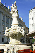 Residenz Platz (Bishop's Residence) Fountain near St Stephan Cathedral in Passau, Lower Bavaria, Germany, City of three rivers