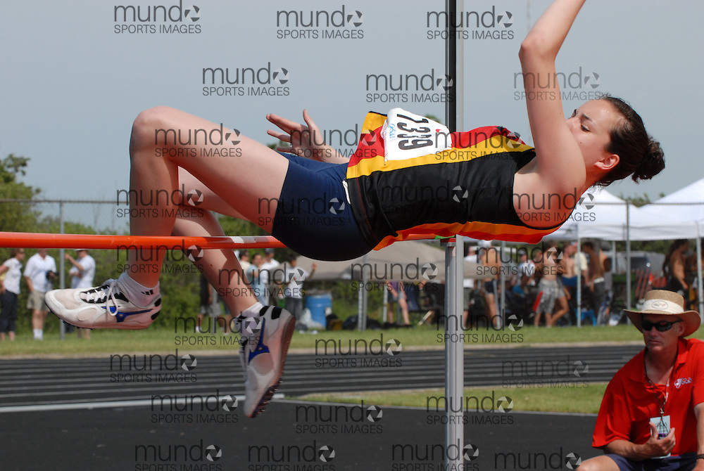 Hamilton, Ontario ---07/06/08--- An athlete competes in the high jump at the 2008 OFSAA Track and Field meet in Hamilton, Ontario..Mark Butterwick
