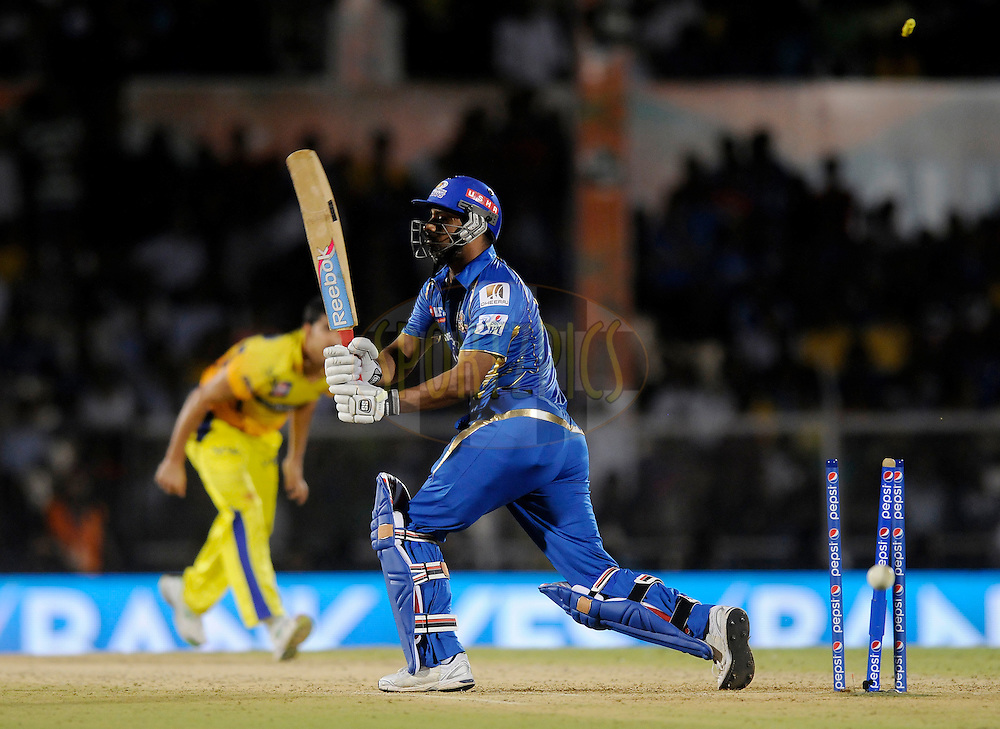 Praveen Kumar of Mumbai Indians gets bowled out during the eliminator match of the Pepsi Indian Premier League Season 2014 between the Chennai Superkings and the Mumbai Indians held at the Brabourne Stadium, Mumbai, India on the 28th May  2014<br /> <br /> Photo by Pal PIllai / IPL / SPORTZPICS<br /> <br /> <br /> <br /> Image use subject to terms and conditions which can be found here:  http://sportzpics.photoshelter.com/gallery/Pepsi-IPL-Image-terms-and-conditions/G00004VW1IVJ.gB0/C0000TScjhBM6ikg