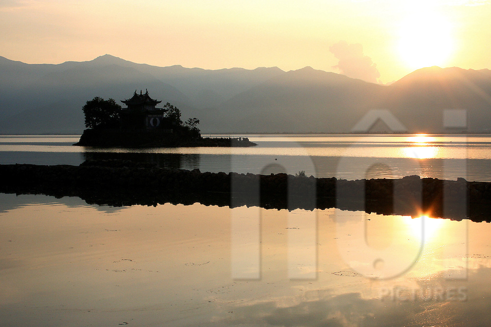 Lesser Putuo temple at sunset, Erhai lake, Dali, China, Asia