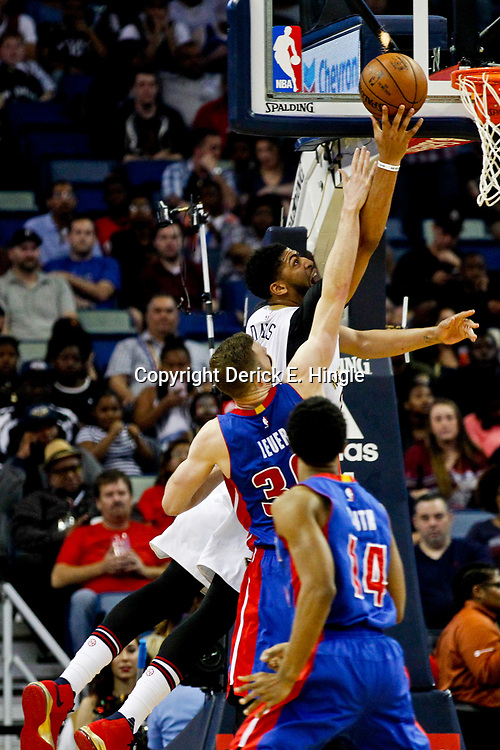 Mar 1, 2017; New Orleans, LA, USA; New Orleans Pelicans forward Anthony Davis (23) shoots over Detroit Pistons forward Jon Leuer (30) during the first quarter of a game at the Smoothie King Center. Mandatory Credit: Derick E. Hingle-USA TODAY Sports