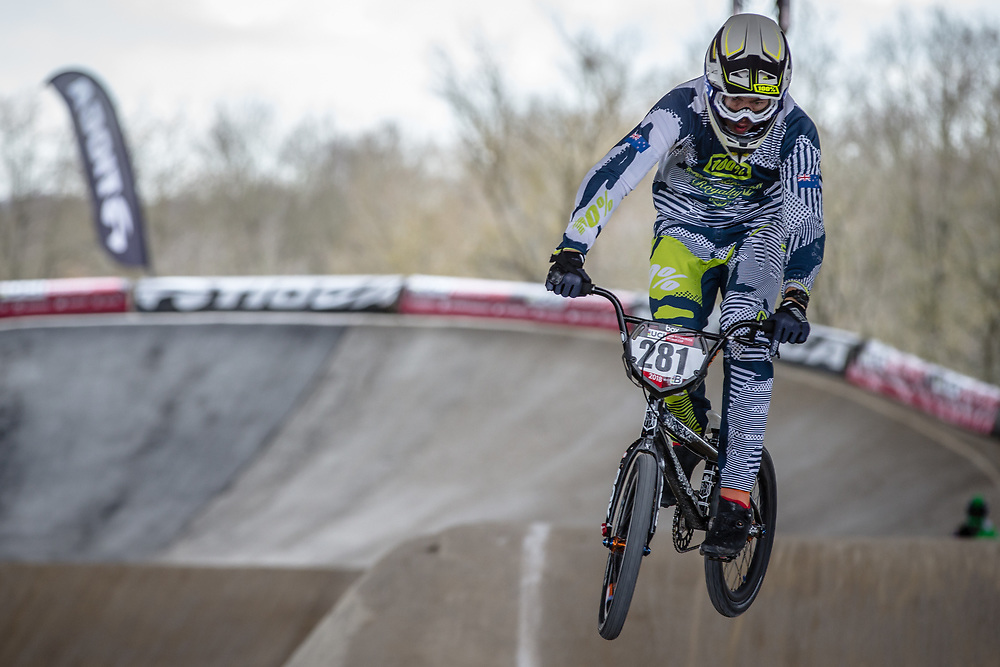 #281 (MCONIE Cole) NZL at Round 2 of the 2018 UCI BMX Superscross World Cup in Saint-Quentin-En-Yvelines, France.