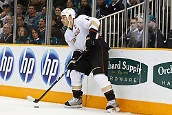 November 9, 2010; San Jose, CA, USA;  Anaheim Ducks center Ryan Getzlaf (15) during the first period against the San Jose Sharks at HP Pavilion.  The Ducks defeated the Sharks 3-2 in overtime. Mandatory Credit: Jason O. Watson / US PRESSWIRE