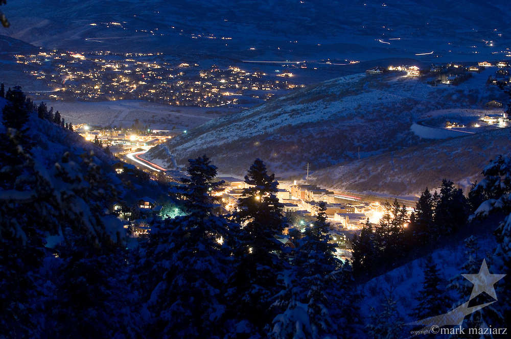 view of downtown Park City, Utah USA from Deer Valley
