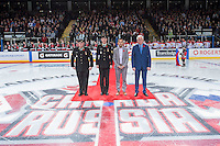 KELOWNA, CANADA - NOVEMBER 9: Military officials, Mayor Colin Basran and Kelowna Rockets GM Bruce Hamilton line up for the ceremonial puck drop on November 9, 2015 during game 1 of the Canada Russia Super Series at Prospera Place in Kelowna, British Columbia, Canada.  (Photo by Marissa Baecker/Western Hockey League)  *** Local Caption *** Mayor Colin Basran; Bruce Hamilton; Ilya Dervuk; Brayden Point;