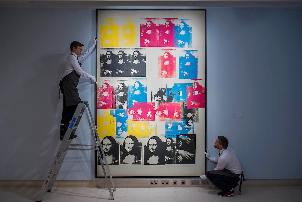 """Andy Warhol (1928-1987), Colored Mona Lisa, 1963 (est $40 million) - Preview of almost fifty works from Christie's spring sales in New York of Impressionist, Modern, Post-War And Contemporary Art. The most expensive work is Les femmes d'Alger (Version """"O""""), 1955, by Pablo Picasso (1881-1973), estimate $140million. Other highlights include: Pablo Picasso (1881-1973), Femme à la résille, 1938 (est $55 million); Mark Rothko (1903 -1970), No. 36 (Black Stripe), 1958 (est: $30-50 million); Andy Warhol (1928-1987), Colored Mona Lisa, 1963 (est $40 million); Claude Monet (1840-1926), Le Parlement, soleil couchant, 1902 (est: $35-45 million); Jean Dubuffet, Paris Polka, 1961 (est $25 million); Piet Mondrian (1872-1944), Composition No.III (Composition with Red, Blue, Yellow and Black), 1929 (est: $15-25million); and Amedeo Modigliani (1884-1920), Portrait de Béatrice Hastings, 1916 (est $7-10million) from the Collection of John C. Whitehead. The works will be on view to the public from 11 to 16 April at Christie's King Street, London."""