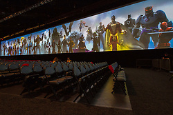 July 22, 2017 - San Diego, US - Day three in Hall H. Warner Bros. will lights up Hall H with a presentation showcasing some of its eagerly awaited upcoming releases, with exclusive footage and revealing conversations.The lineup includes director Steven Spielberg's Ready Player One, based on the hugely popular Ernest Cline novel, with stars Tye Sheridan, Olivia Cooke, Ben Mendelsohn, and T.J. Miller, author/co-screenwriter Cline, co-screenwriter Zak Penn, and Spielberg on the panel..Seen here: a rare site, as hall H is empty while Warner Bros. gets ready for it's reveal. (Credit Image: © Daren Fentiman via ZUMA Wire)