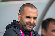 Spanish head coach Pedro Lopez watches his team during the UEFA Women's U19 European Championship match between England Women and Spain at Forthbank Stadium, Stirling, Scotland on 19 July 2019.