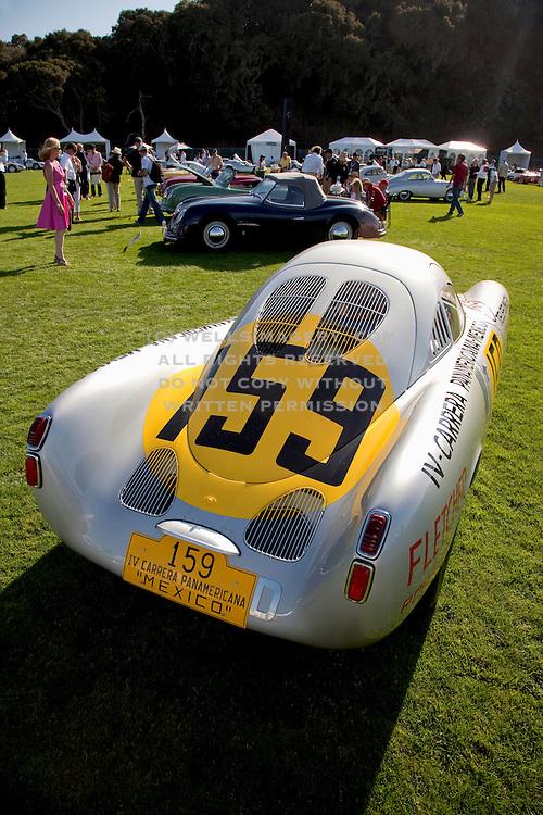 Image of a vintage Porsche 550-03 Spyder at the Porsche Race Car Classic, Quail Lodge, Carmel, California, America west coast.