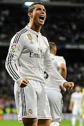 01.03.2015, Estadio Santiago Bernabeu, Madrid, ESP, Primera Division, Real Madrid vs FC Villarreal, 25. Runde, im Bild Real Madrid´s Cristiano Ronaldo celebrates a goal // during the Spanish Primera Division 25th round match between Real Madrid CF and Villarreal at the Estadio Santiago Bernabeu in Madrid, Spain on 2015/03/01. EXPA Pictures © 2015, PhotoCredit: EXPA/ Alterphotos/ Luis Fernandez<br /> <br /> *****ATTENTION - OUT of ESP, SUI*****