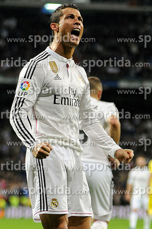 01.03.2015, Estadio Santiago Bernabeu, Madrid, ESP, Primera Division, Real Madrid vs FC Villarreal, 25. Runde, im Bild Real Madrid&acute;s Cristiano Ronaldo celebrates a goal // during the Spanish Primera Division 25th round match between Real Madrid CF and Villarreal at the Estadio Santiago Bernabeu in Madrid, Spain on 2015/03/01. EXPA Pictures &copy; 2015, PhotoCredit: EXPA/ Alterphotos/ Luis Fernandez<br /> <br /> *****ATTENTION - OUT of ESP, SUI*****
