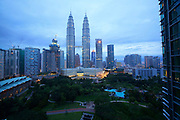 Malaysia, Kuala Lumpur. Dawn over Petronas Twin Towers, the tallest buildings on Earth from 1998-2004 (still the tallest twin buildings).