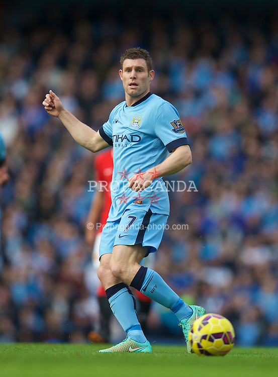 MANCHESTER, ENGLAND - Sunday, November 2, 2014: Manchester City's James Milner in action against Manchester United during the Premier League match at the City of Manchester Stadium. (Pic by David Rawcliffe/Propaganda)
