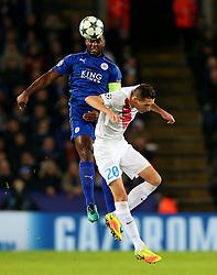 Wes Morgan of Leicester City wins a header above Hans Vanaken of Club Brugge - Mandatory by-line: Matt McNulty/JMP - 22/11/2016 - FOOTBALL - King Power Stadium - Leicester, England - Leicester City v Club Brugge - UEFA Champions League