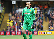 Watford Heurelho Gomes dejected during the Sky Bet Championship match between Watford and Sheffield Wednesday at Vicarage Road, Watford, England on 2 May 2015. Photo by Phil Duncan.