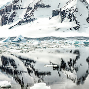 A steep rocky mountain is reflected on calm waters as seen from Cuverville Island on the western side of the Antarctic Peninsula.