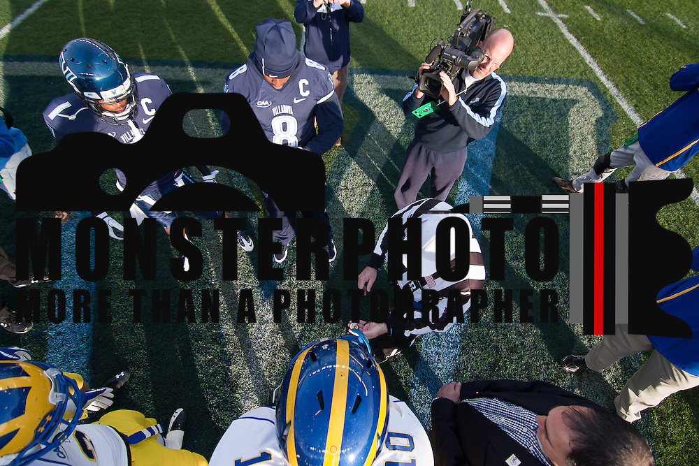 11/19/11 Chester PA: Delaware and Villanova captains wait for the coin to be toss in the air Saturday Nov. 19, 2011 at PPL Park in Chester PA....Special to The News Journal/SAQUAN STIMPSON