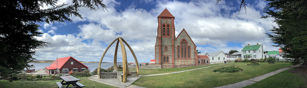 Christchurch and whale bone structure in Stanley, Falkland Islands.