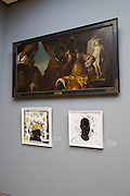 "documenta12. Willhelmshoehe Castle. Kerry James Marshall, ""The Lost Boys: A.K.A. Black Johnny, 1993 hanging under Karel van Mander III's ""Hydaspes and Persina before the Painting of Andromeda"" (ca. 1640)"