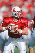 PALO ALTO, CA -  OCTOBER 2:  Scott Frost #5 of the Stanford Cardinal attempts a pass during an NCAA football game against Notre Dame played on October 2, 1993 at Stanford Stadium in Palo Alto, California.