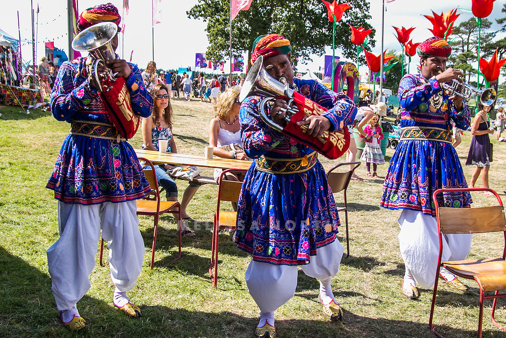 Jaipur Brass Band perform at Camp Bestival, Lulworth, UK on Saturday 28th July 2012. Photo by Melissa North.  Ref B2779