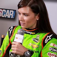 Danica Patrick speaks with the media during the NASCAR Media Day event at Daytona International Speedway on Thursday, February 14, 2013 in Daytona Beach, Florida.  (AP Photo/Alex Menendez)