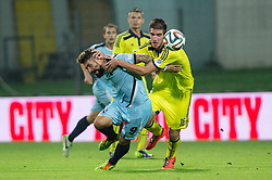 Luka Majcen of ND Gorica vs Damjan Vuklisevic of NK Maribor during football match between ND Gorica and NK Maribor at NZS Super Cup of Liga Telekom Slovenije 2014/15, on August 13, 2014 in Sportni Park Nova Gorica, Nova Gorica, Slovenia. Photo by Matic Klansek Velej / Sportida.com