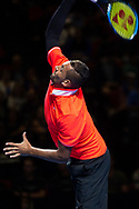 SYDNEY, NSW - JANUARY 07: Nick Kyrgios (AUS) serves at The Sydney FAST4 Tennis Showdown on January 07, 2018, at Qudos Bank Arena in Homebush, Australia. (Photo by Speed Media/Icon Sportswire)