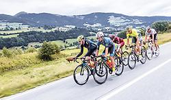 11.07.2019, Kitzbühel, AUT, Ö-Tour, Österreich Radrundfahrt, 5. Etappe, von Bruck an der Glocknerstraße nach Kitzbühel (161,9 km), im Bild Spitzengruppe, v.l.: Michal Podlaski (Wibatech Merx, POL), Andi Bajc (Team Felbermayr Simplon Wels, SLO), Yannik Achterberg (Maloja Pushbikers, GER), Tom Wirtgen (Wallonie Bruxelles, LUX), // Spitzengruppe, v.l.: Michal Podlaski (Wibatech Merx, POL), Andi Bajc (Team Felbermayr Simplon Wels, SLO), Yannik Achterberg (Maloja Pushbikers, GER), Tom Wirtgen (Wallonie Bruxelles, LUX) during 5th stage from Bruck an der Glocknerstraße to Kitzbühel (161,9 km) of the 2019 Tour of Austria. Kitzbühel, Austria on 2019/07/11. EXPA Pictures © 2019, PhotoCredit: EXPA/ JFK