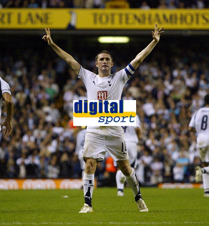 Photo: Chris Ratcliffe.<br /> Tottenham Hotspur v Slavia Prague. UEFA Cup. 28/09/2006.<br /> Robbie Keane of Spurs celebrates his goal.
