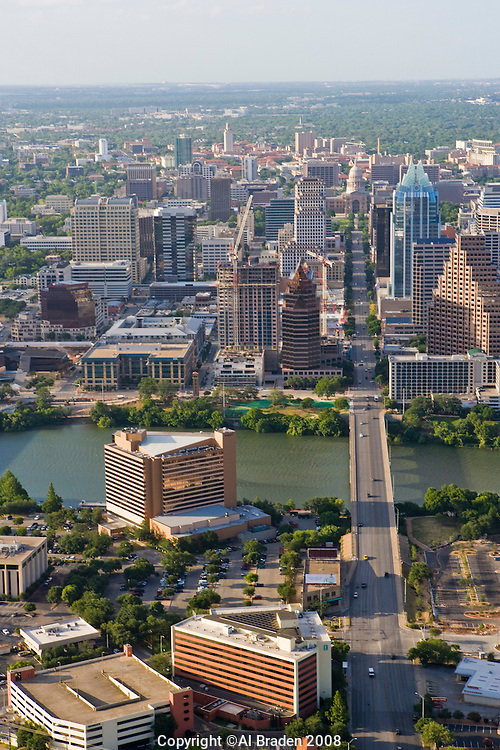 Austin, Texas, skyline looking up Congress Avenue to the capitol.