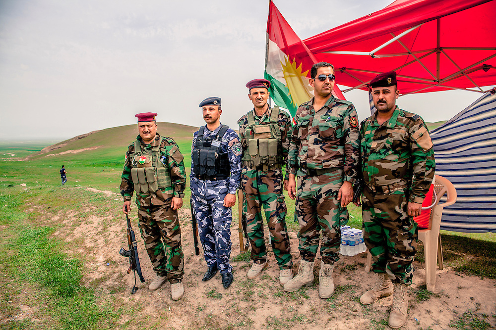 Kurdistan military force in one of the many check points of the region. The Kurdistan party and its military force protect the area from the infiltration of Islamists and terrorist cells.