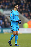 Stoke City goalkeeper Adam Federici (32) during the The FA Cup 3rd round match between Shrewsbury Town and Stoke City at Greenhous Meadow, Shrewsbury, England on 5 January 2019.