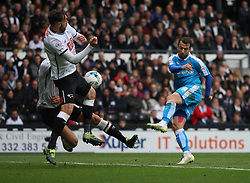 Adam Le Fondre of Wolverhampton Wanderers (R) has a shot at goal - Mandatory byline: Jack Phillips / JMP - 07966386802 - 18/10/2015 - FOOTBALL - The iPro Stadium - Derby, Derbyshire - Derby County v Wolverhampton Wanderers - Sky Bet Championship