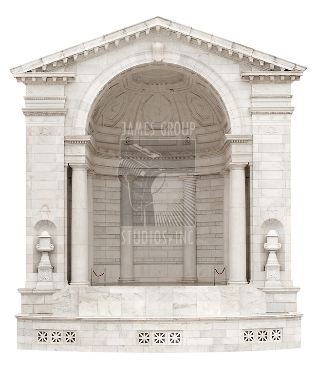 Classical arch with half rotunda stage for showcasing a product, isolated on a white background with clipping path