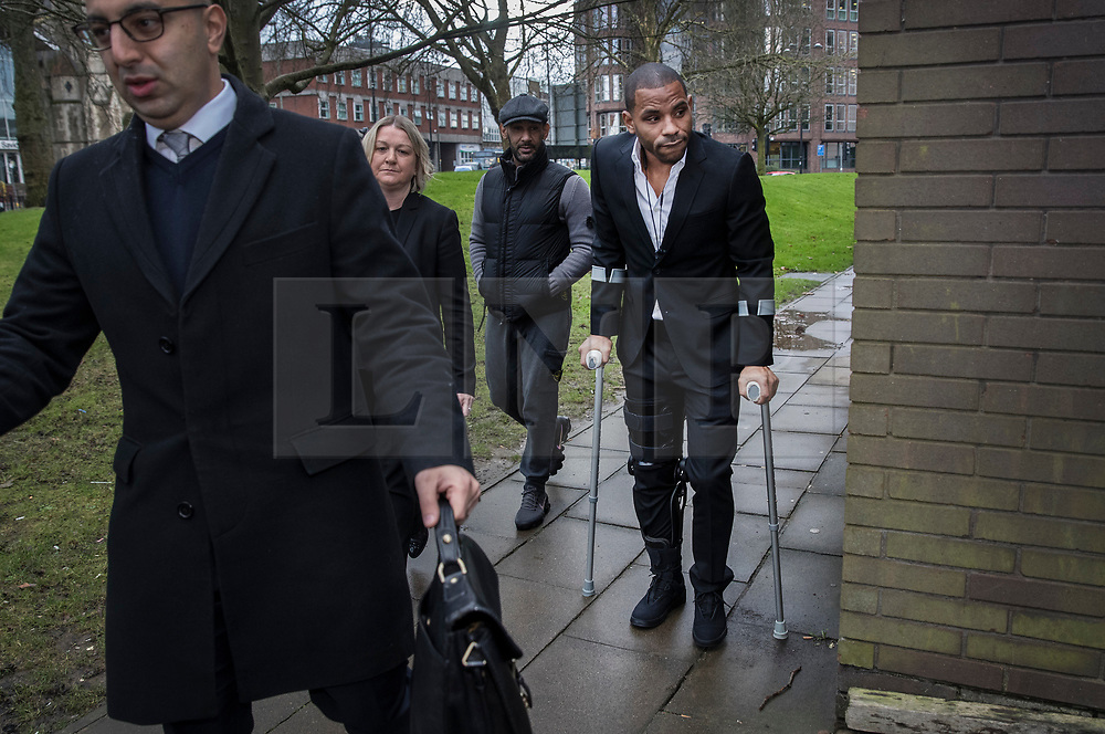 © Licensed to London News Pictures. 05/01/2018. Guildford, UK. Crystal Palace football club captain Jason Puncheon (R)arrives at Guildford Magistrates Court. He is charged with various offences including  common assault  and possession of an offensive weapon after an altercation outside a nightclub in Reigate in the early hours of December 17th, 2017. Photo credit: Peter Macdiarmid/LNP