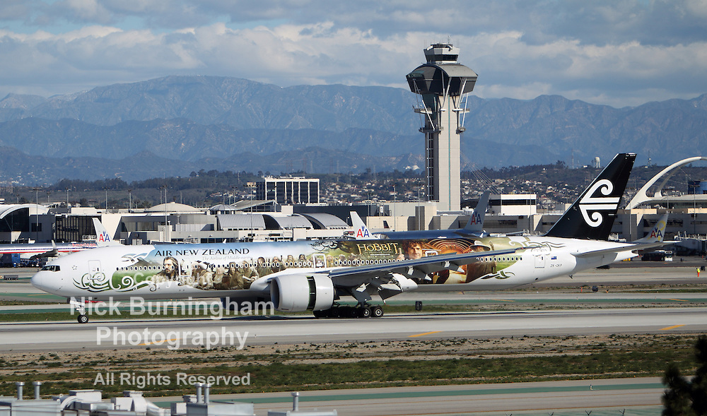 LOS ANGELES, CALIFORNIA, USA - JANUARY 28, 2013 -  Air New Zealand Boeing 777-319 (ER) taxis at Los Angeles Airport on January 28, 2013. The plane has the most powerful jet engines in commercial service