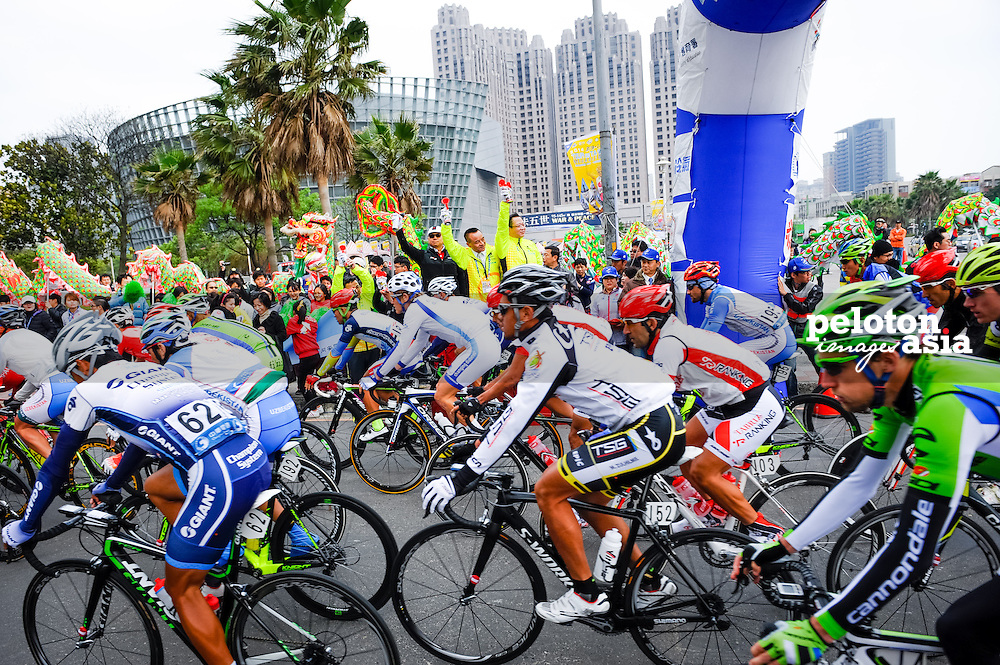 2014 Tour de Taiwan / stage2 / Taiwan / start line / VIPs / Terengganu Cycling Team / Team Novo Nordisk