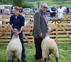 © Licensed to London News Pictures. <br /> 13/08/2014. <br /> <br /> Danby, North Yorkshire, United Kingdom<br /> <br /> Owners hold their sheep for the judges during judging at the Danby Agricultural Show in North Yorkshire. <br /> <br /> This year is the 154th show which was founded in 1848. It is the oldest agricultural show in the area and offers sheep dog trials, judging of a variety of different animals such as cattle, sheep, ferrets, horses and rabbits along with different classes of horticulture and dairy. <br /> <br /> Photo credit : Ian Forsyth/LNP