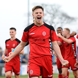 TELFORD COPYRIGHT MIKE SHERIDAN 23/2/2019 - Ryan Barnett of AFC Telford (on loan from Shrewsbury Town Football Club) celebrates at full time after the FA Trophy quarter final fixture between Solihull Moors and AFC Telford United at the Automated Technology Group Stadium
