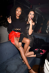 Left to right, Jourdan Dunn and Adriana Lima at the Maybelline New York Bring on The Night party hosted by Adriana Lima & Jourdan Dunn at Scotch of St.James, 13 Masons Yard, England. 18 February 2017.