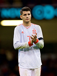 CARDIFF, WALES - Thursday, October 11, 2018: Spain's Álvaro Morata applauds the travelling supporters after the International Friendly match between Wales and Spain at the Principality Stadium. Spain won 4-1. (Pic by Laura Malkin/Propaganda)