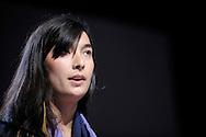 Danielle Fong co-fondatrice et directrice Scientifique de LightSail Energy nommée par le MIT Technology Review comme l'un des 35 innovateurs les plus remarquables de moins de 35 ans lors d'une conférence organisée par Total et BFM Business sur les perspectives internationales de la transition énergétique, le 25 novembre 2013 à la salle Wagram.