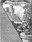 Forms of astrolabe in use for surveying. Vignette from a multiplication table published in 1650. Engraving
