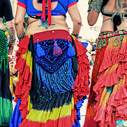 Colorful costumes of the Tamarind Tribal Belly Dancers at Bastille Days Milwaukee. Photo by Jennifer Rondinelli Reilly.