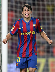 FC Barcelona's Bojan Krkic celebartes goal during the Supercup of Spain.August 23 2009.