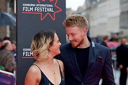"Jessica Brown Findlay and Jack Lowden, on the red carpet at the Edinburgh International Film Festival world Premier of ""England is Mine"" at Edinburgh's Festival Theatre. Sunday, 2nd July, 2017(c) Brian Anderson 