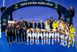 Second placed team of Spain after futsal match between Portugal and Spain in Final match of UEFA Futsal EURO 2018, on February 10, 2018 in Arena Stozice, Ljubljana, Slovenia. Photo by Urban Urbanc / Sportida