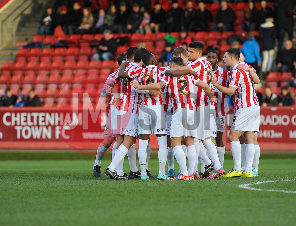 Cheltenham Town's  team huddle together before kick-off.  - Photo mandatory by-line: Nizaam Jones/JMP - Mobile: 07966 386802 20/12/2014 - SPORT - FOOTBALL - Cheltenham - Whaddon Road - Cheltenham Town v Portsmouth - Sky Bet League Two